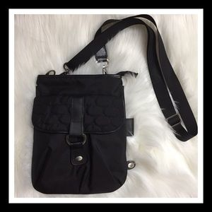 Mosey Black Nylon Leather Trim Crossbody Bag